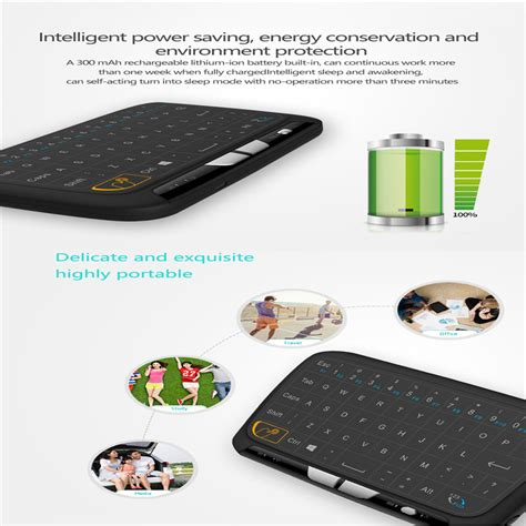 alphun air mouse touchpad keyboard wireless 2 4ghz h18