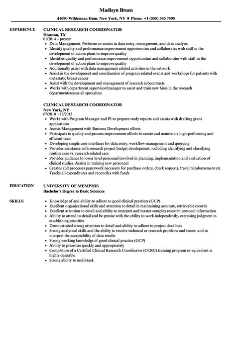 Clinical Research Coordinator Resume by Clinical Research Coordinator Resume Sles Velvet