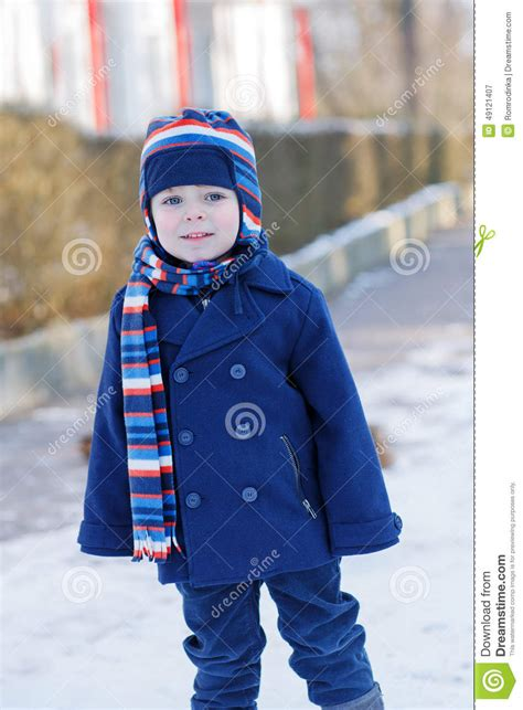 toddler boy winter clothes adorable toddler boy on beautiful winter day stock image
