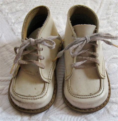 White Baby Shoes vintage white baby shoes 1950s