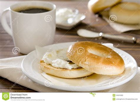 cream cheese bagel stock image image  table drink