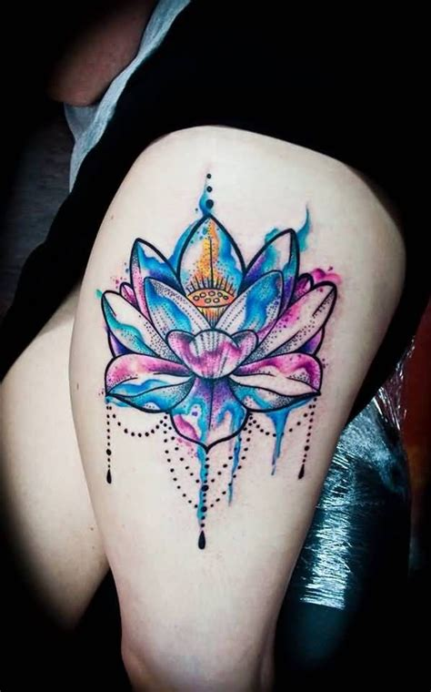 watercolor thigh tattoos watercolor lotus on thigh inspo tattoos
