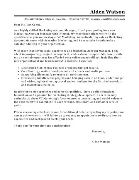 Cover Letter Exle Marketing Manager Account Manager Cover Letter Exles Marketing Cover Letter Sles Livecareer