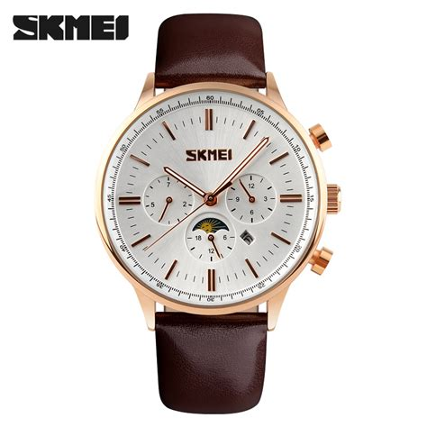 Jam Tangan Gold skmei jam tangan kasual pria 9117cl white gold