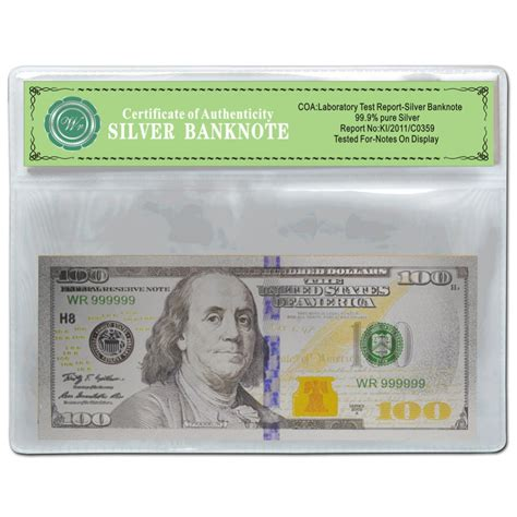 Top Home Decor Stores Usa Silver Banknote 100 Dollar Pure Silver Foil With
