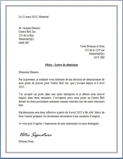 Exemple De Lettre De Demission En Pdf Exemple Lettre De Demission Vendeuse Document