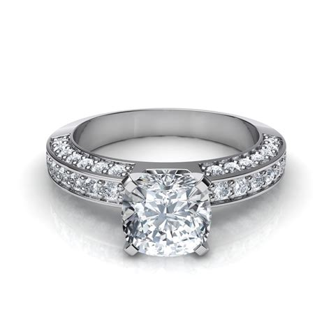 Cushion Cut Engagement Rings by 3 Sided Pave Cushion Cut Engagement Ring