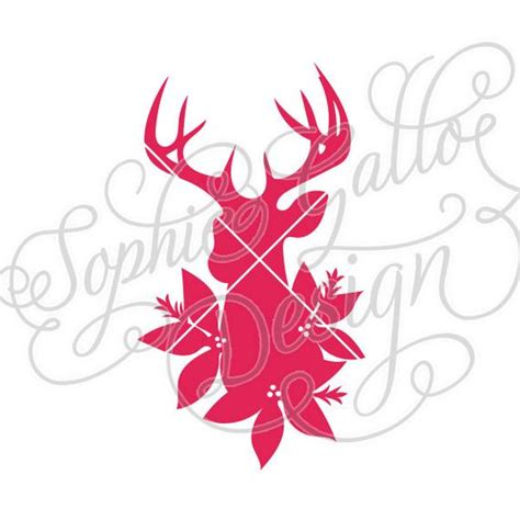 christmas dxf free poinsettia deer design svg dxf digital file