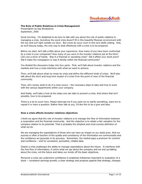 crisis press release template the of relations in crisis management