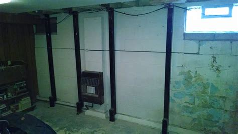 bowing basement walls steel beams for bowing basement walls forever foundation