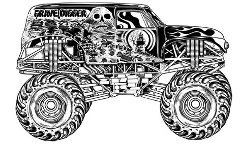 grave digger monster truck kids coloring pages
