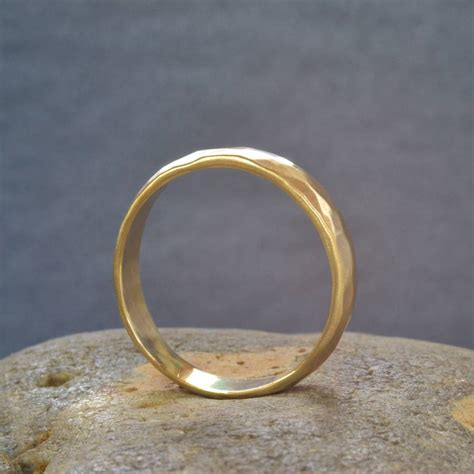 Handcrafted Gold Rings - handmade gold hammered wedding ring by muriel