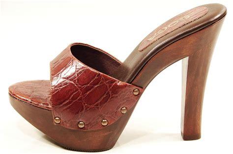 womens soca high heel wood platform sandals brown ebay