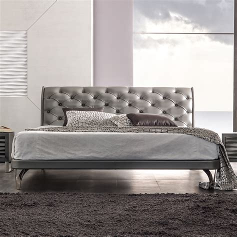 leather upholstered bed platinum leather button upholstered bed