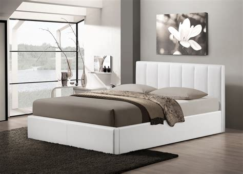 modern bedroom furniture chicago baxton studio templemore white leather contemporary queen