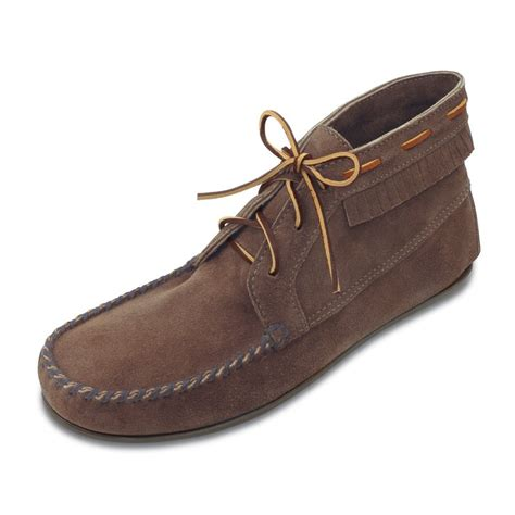 mens moccasin boots minnetonka mens chukka boot dusty brown suede mens
