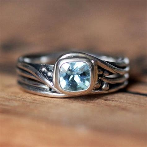 Handmade Silver Rings With Gemstones - rustic engagement ring set aquamarine gemstone ring