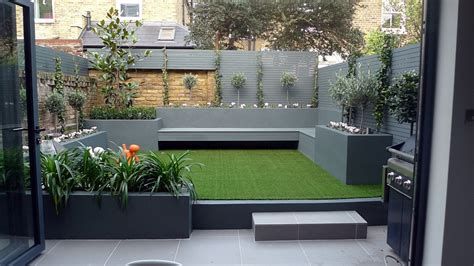 modern small  maintenance garden fake grass grey raised