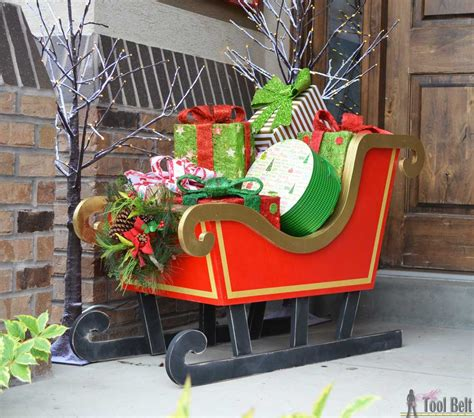 home made outdoor christmas decorations diy santa sleigh her tool belt