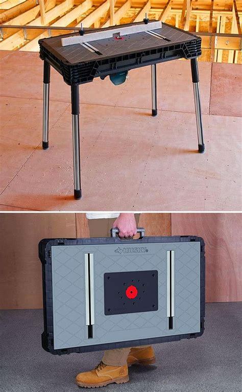husky adjustable work table husky portable jobsite workbench this portable work table