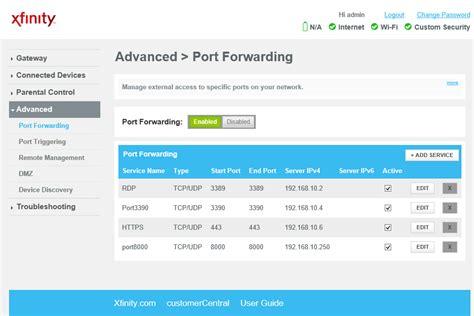 how to configure port forwarding in xfinity modem step