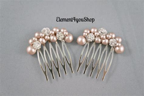 Set Of 2 Flower Hair Comb bridal small hair combs set of 2 light chagne pearls