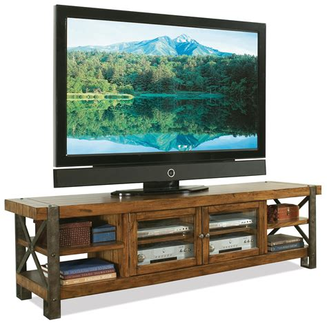 Tv Console Table Rustic Tv Stand Console Table With Bookshelf And Storage With Glass Door Made From Solid Wood