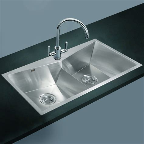 stainless steel kitchen sink twin double bowl square
