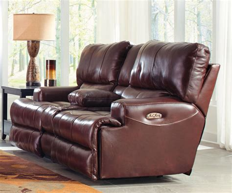 Catnapper Leather Reclining Sofa Catnapper Wembley Top Grain Italian Leather Leather Power Headrest Power Lay Flat Reclining