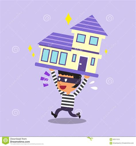 house stealing cartoon thief stealing a house stock vector image 62511510