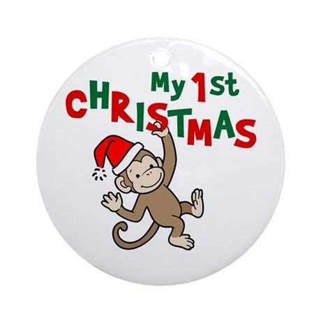 my first christmas monkey ornament round by greenpixel