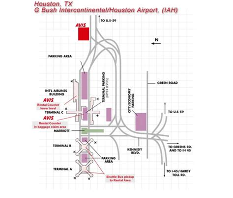 houston texas airport map avis rent a car individual airport map