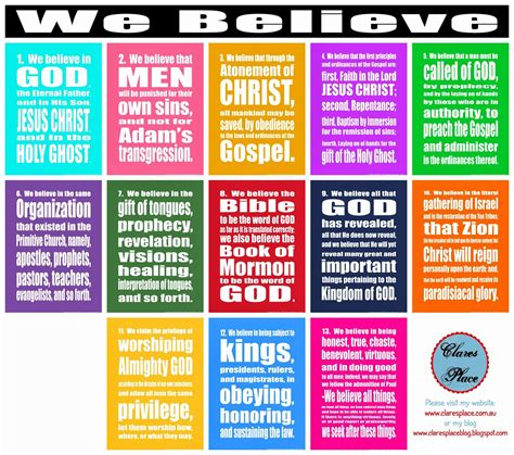 printable articles of faith clares place