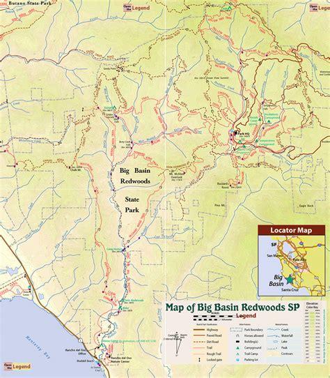big basin trail map big basin redwoods state park trail map boulder creek