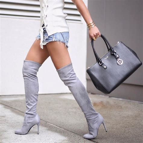 shoes shorts boots grey boots the knee