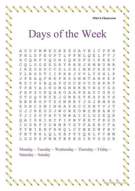 printable english worksheets days of the week the days of the week worksheet free esl printable