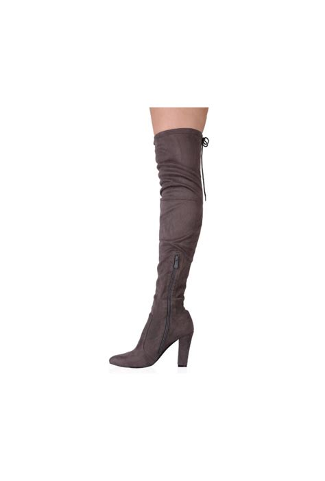 grey faux suede the knee boots from ruby room uk