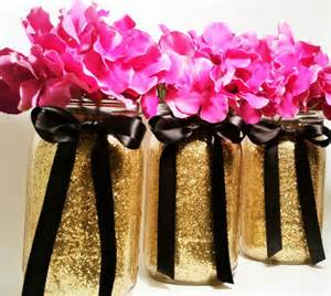Decorating Vases With Glitter Mason Jar Wedding Centerpieces Gold And Black