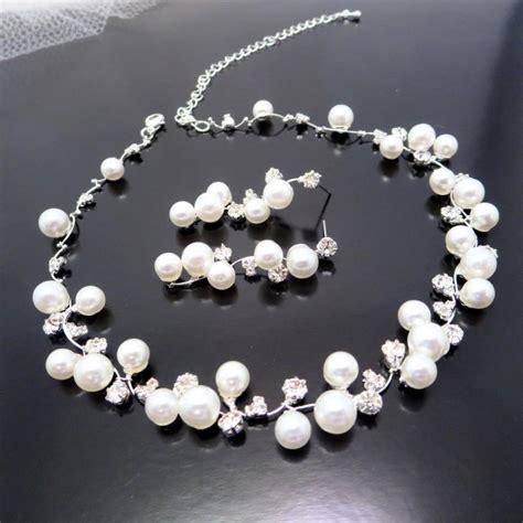 Bridal Pearl Necklace Set, Wedding Jewelry Set, Bridal Rhinestone Necklace And Earrings, Wedding