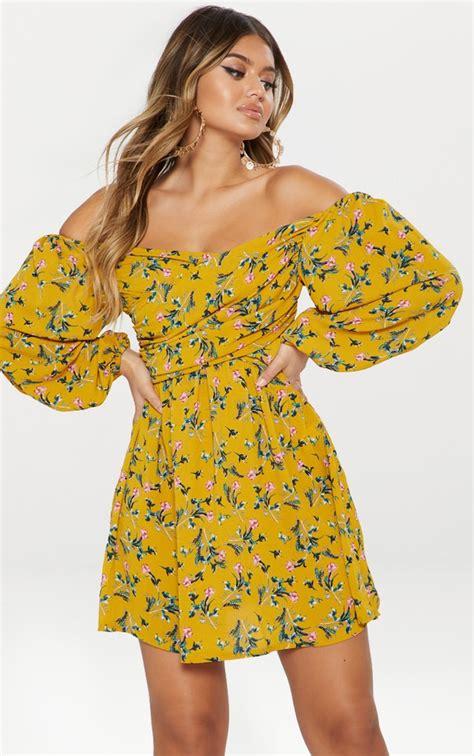 41810 Flowers Dress floral dresses flower print dress prettylittlething aus