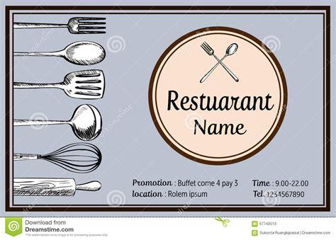 Restaurant Name Card Doodle Vintage Tyle Vector