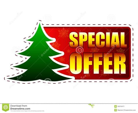 special offer and christmas tree on red banner with