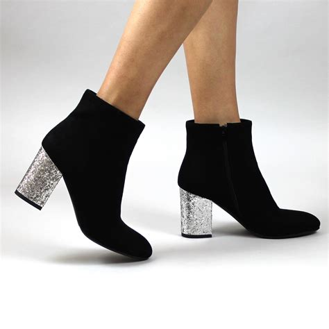 New Heels Silver Black black silver glitter heeled boots pointed toe boots