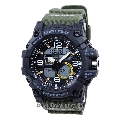 Jam Tangan Pria Digitec Time Original Hijau Water Resist digitec dg 2102t green army jam tangan sport anti air murah
