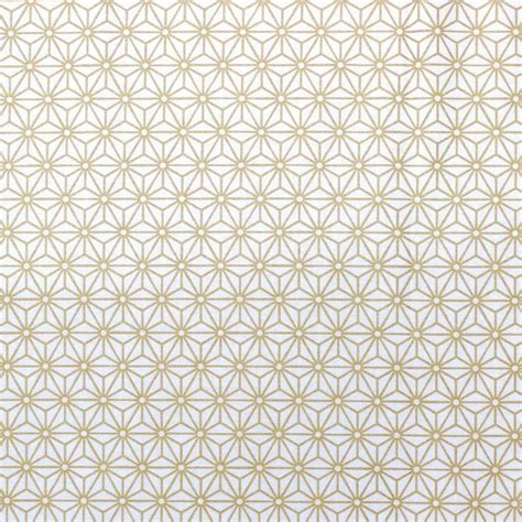 Waterloo Upholstery Cotton Fabric With Gold Geometric Design On White Background