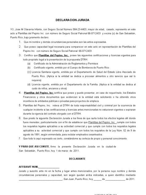 declaracion jurada puerto rico declaracion jurada modelo