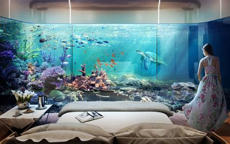 bedroom under water dubai s floating seahorse homes are partially submerged