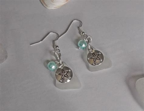 Sand Dollar Earring sea glass earrings with sand dollars sea glass jewelry