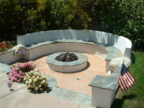 diy pit and seating area sunken pit area with quartz stucco seat wall and