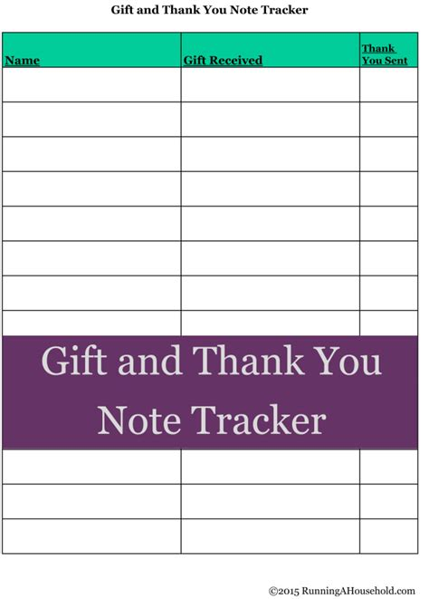 Thank You Note For Large Donation Printable Thank You Note Tracker Archives Running A Household